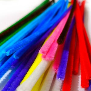 50 Quality Craft Pipe Cleaners Assorted Colours 30cm x 6mm Chenille Stems