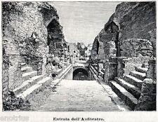 Pozzuoli: Anfiteatro Flavio: Entrata. Puteoli. Campi Flegrei. Stampa Antica.1901