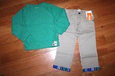 NWT Gymboree Deep Sea Adventure 3T Set Green Slub Pullover Khaki Cuffed Pants