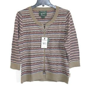 Woolrich - L - NWT - Fair Isles Striped 100% Cotton - Zip-Up Cardigan Sweater