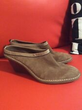 WOMENS COLE HAAN SHOES TAN SUEDE SLIP ON MULES CLOGS 9 B