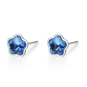 UK Cubic Zirconia Flower Birthstone Sterling Silver Stud Earrings Gift Boxed