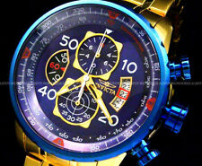 New Invicta MenAviator 18K Gold Plated Blue Dial Tachy S.S Chrono Bracelet Watch