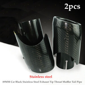 2×Car Black Stainless Steel  Carbon fiber Exhaust Tip Throat Muffler Tail Pipe