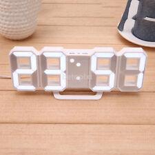 New White Modern Digital LED Wall Desk Alarm Clock Watches 24/12-Hour Display FR