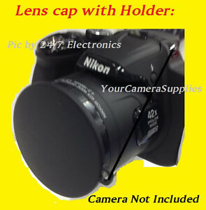 LENS CAP FITS DIRECTLY TO YOUR CAMERA: NIKON COOLPIX P520 P 520 + HOLDER,