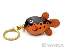 Globe/Blow/Puffer Fish Handmade 3D Leather(L) Keychain*Vanca*Made in Japan 56166