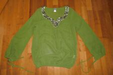 Tunika Bluse Damen Heine BC Gr. S 36 Chiffon grün Pailetten Gold Boho Hippie