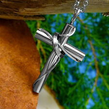 Large Luxury Cross Pendant w/ Ring Stainless Steel Necklace Chain for Men/Women