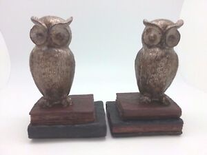 Bookend Pair Library Decoration NEW Wide Eyed Wooden Owl - Great Gift