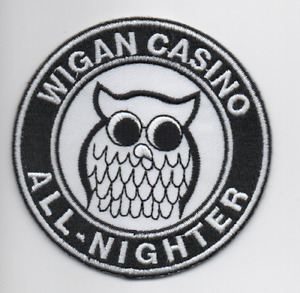 WIGAN CASINO All-Nighter New Iron / Sew On Embroidered Patch Northern Soul Scene