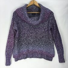 American Eagle Outfitters XS Sweater Purple Cowl Neck Knit Wide Floppy High Low