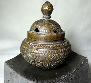 Antique Copper Censer Incense Holder Pot Pierced Lid Ganesha Gods Tibet