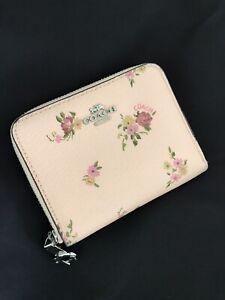 COACH Small Zip Zipper Around Wallet Billfold Card Case Daisy Bundle Floral