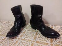 MEN'S UFCW WESTERN BROWN ANKLE BOOTS 9.5 9 1/2  Leather  ZIPPER USA 1198