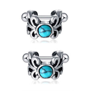 2pc Surgical Steel Cartilage Cuff Earring Owl Wings Heart Turquoise Ear Piercing