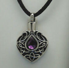 TEAR CREMATION JEWELRY CREMATION URN NECKLACE PURPLE FEBRUARY MEMORIAL KEEPSAKE