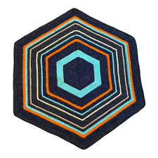 Handmade Rug Hexagon Shape Gray, Blue, Orange, Peach, Yellow, Green by Marsha