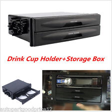 Universal Car Truck Black Double Din Radio Pocket Drink-Cup Holder Storage Box
