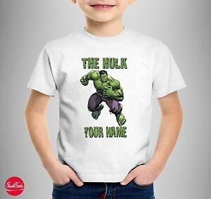 "The Hulk ""Personalised"" T-SHIRT T SHIRT TEE Marvel Comics Kids Birthday Gift"
