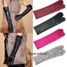 Women's Warm Fashion Imitation Leather Leather Opera Long Gloves Black Lambskin