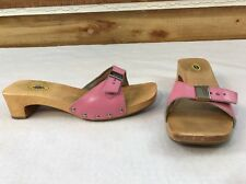 DR SCHOLLS Original Pink Leather Suede Slide Wood Sole Exercise Sandals Size 8M