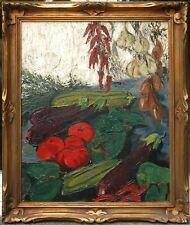 Huile ancienne sur toile signée LV , nature morte aux légumes