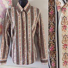 Womens Sz L Lucky Brand Button Down Shirt Floral Stripe Western Showmanship Top