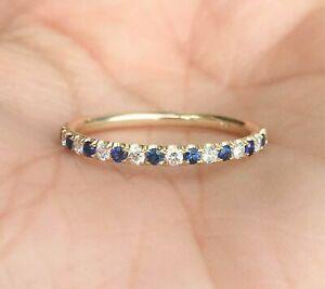 0.70Ct Round Cut Sapphire & Diamond 14K Yellow Gold Over Half Eternity Ring Band