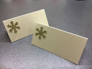 10 Ivory Name Place Cards With A Gold Glitter Snowflake