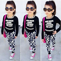 Nwt Toddler Kids Girls Long Sleeve Tops Pants Leggings 2Pcs Outfits Set Clothes