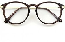 CGID CN92 Fashion Keyhole Metal Temple Oval Horn Rimmed Clear Lens Glasses,Brown