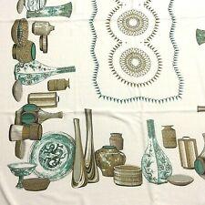 Vintage MCM Tablecloth Aqua Gold Brown 49 x 65 Pottery Bowls Vases 1950s