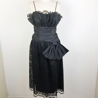 Vintage Act I Black Lace Midi Bow Prom Dress 80s 1980 Big Bow Party CockTail 4/6