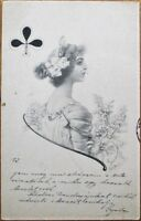 Art Nouveau 1901 Playing Card Postcard: Queen of Clubs - Artist-Signed