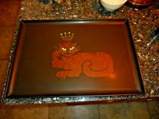 "Vtg COUROC KING CAT CROWN LION Inlaid Rectangular Tray Black 18"" x 12 1/2"""