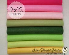 "SPRING FLOWERS Felt Collection Merino Wool Blend Felt, EIGHT 9"" X 12"" Sheets"