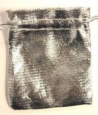 Luxury Christmas satin finish 25 SILVER 7x9cm party favour bags wedding pouches