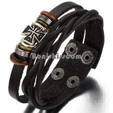 Mens Womens Brown Leather Friendship Bead Celtic Cross Charm Bangle Bracelet