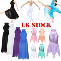 UK Girls Lyrical Ballet Dance Dress Leotard Long Skirt Tutu Danncewear Costume