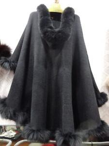 Cashmere Knitwear Poncho Cape Coat Fox Fur Frills Shawl Wrap Overcoat Outerwear