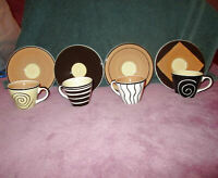 NIB 8X LOT HuesNBrews ESPRESSO Demitasse CUPS & SAUCERS Porcelain HAND PAINTED