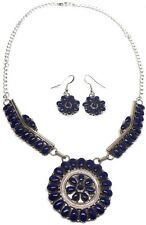 Navajo Sterling Silver Lapis Cluster Necklace & Earring Set -Rosanna Williams