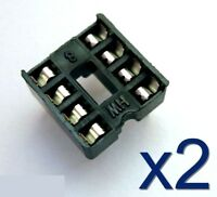 2x Support socket pour circuit intégré 8 broches DIP - 2x 8 pins support for IC