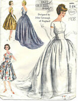 1958 Vintage VOGUE Sewing Pattern B34 EVENING DRESS GOWN (1401) BY John Cavanagh