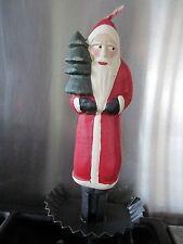 Folk Art Santa Candle & Metal Base