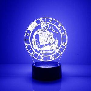 Aquarius, Zodiac Signs Night Light 16 Color Change LED Desk Lamp Home Decor