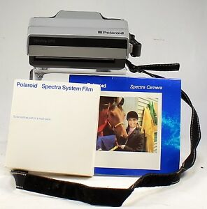 VINTAGE Polaroid Spectra QPS Instant Film Camera with strap and film cartridge