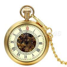 Steampunk Mechanical Men's Pocket Watch Gift Luxury Gold Tone Open Face Skeleton