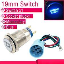 19mm 12V Blue LED Momentary Push Button Metal Engine start Switch Socket plug